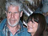 Ron Perlman and Selma Blair at the &#39;Hellboy II: The Golden Army&#39; film review in the ComicCon Comic Convention, Javitz Center, America
