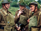 Ian Lavender, Clive Dunn and John Laurie of Dad's Army