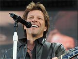 Jon Bon Jovi in concert performing at St Mary's Stadium in Southampton, Britain