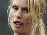 Nicollette Sheridan makes the opening pitch at the L.A. Dodgers vs. San Francisco Giants baseball game