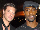 Duncan James and Simon Webbe at the opening night of 'The Pretender Agenda' in wich Lee Ryan is appearing