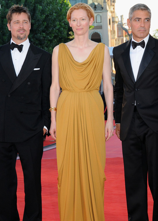 Brad Pitt, Tilda Swinton and George Clooney at the 'Burn After Reading' film ...