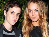 Samantha Ronson and Lindsay Lohan at the 'Ultimat Vodka' launch party