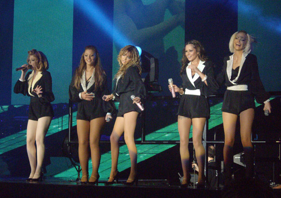 Girls Aloud performing 'Rolling Back The Rivers In Time' from their latest album.