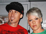 Carey Hart and Pink at the T-Mobile Sidekick LX launch