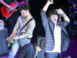 Jonas Brothers performing a free concert at Irving Plaza to promote their new album &#39;Lines, Vines & Trying Times&#39;, New York City