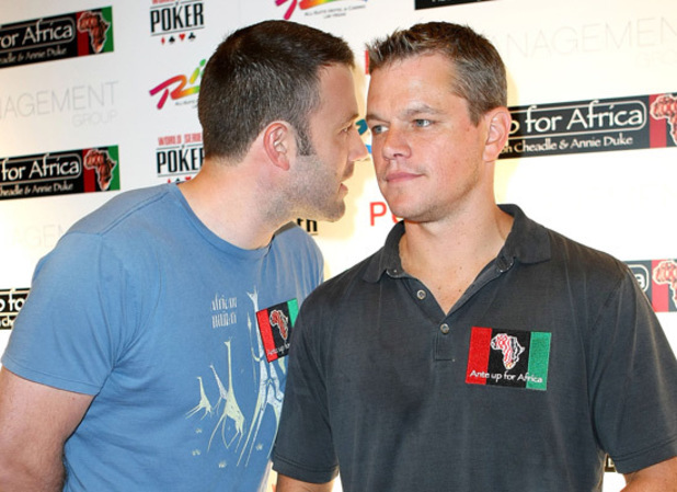 Cardsharps Matt Damon and Ben Affleck get ready for a charity poker tournament in Las Vegas.