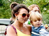 Singer Britney Spears takes her two sons to visit the Eiffel Tower in Paris, France.