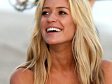 Kristin Cavallari films scenes for 'The Hills' on Malibu beach. Los Angeles, California.