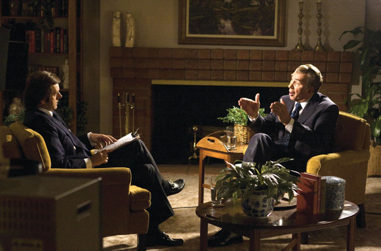 Michael Sheen and Frank Langella as David Frost and Richard Nixon