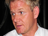 Gordon Ramsay dressed in his chef's uniform at Claridge's Hotel, London, England
