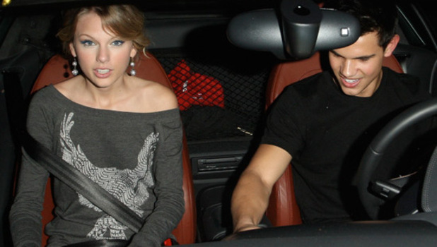 Taylor Swift and Taylor Lautner leaving Ruth&#39;s Chris Steak House in Beverly Hills. Los Angeles