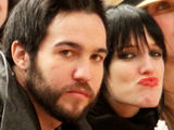 Pete Wentz and Ashley Simpson attending the basketball game between the Washington Wizards and the New York Knicks at New York Citys Madison Square Gardens