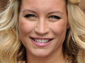 TV presenter Denise Van Outen breaks the world record for eating the most jelly in 60 seconds.