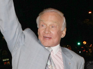 Buzz Aldrin arrives at the launch of actress Niecy Nash's milkshake