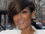 Frankie Sandford of the Saturdays outside the May Fair hotel