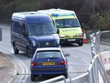 As the ambulance takes Tony to hospital, Robbie&#39;s van drives it off the road.