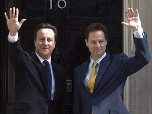 Prime Minister David Cameron and Deputy Prime Minister Nick Clegg on the steps of Downing Street