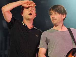 Damon Albarn and Alex James of Blur performing at Glastonbury