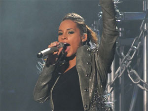 Alicia Keys performing at the O2 Arena.