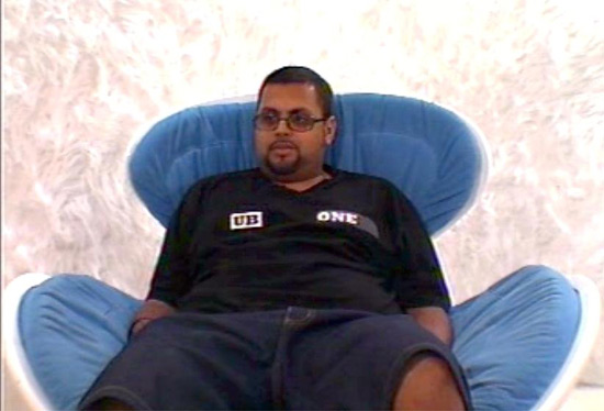 Gos in the Big Brother 4 Diary Room Chair