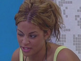 Rachael White chatting to other housemates in the bathroom.