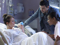 Stacey gives birth with Ryan by her side during this evening's dramatic hour-long EastEnders special.