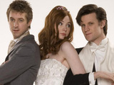 Amy Pond, Rory Williams and the Doctor at the Amy's wedding in Doctor Who