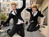 Jedward outside the May Fair hotel