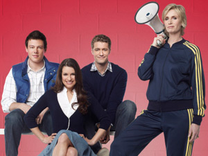 Finn Hudson, Rachel Berry, Wil Schuester and Sue Sylvester from Glee