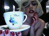 Lady GaGa with a 'Whore' teacup