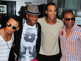 JLS celebrating their latest number one record The Club Is Alive at the Radio One studios in London