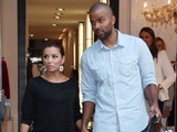 Eva Longoria and Tony Parker leaving the Georges Rech store on Avenue Montaigne