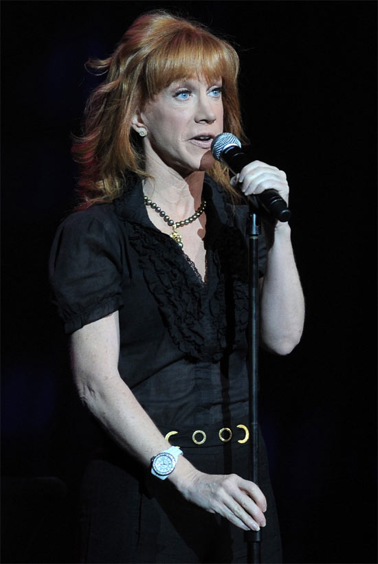 American comedian Kathy Griffin performing at the 'Hard Rock Live' event held in Hollywood