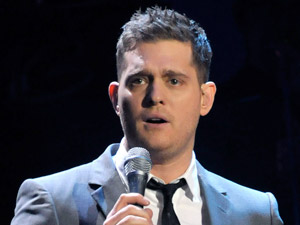 Michael Buble on stage performing