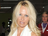 Pamela Anderson arriving at Heathrow
