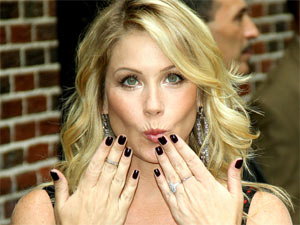 Christina Applegate at the Ed Sullivan Theatre in New York City ahead of making an appearing on the 'Late Show with David Letterman'