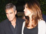 George Clooney and his girlfriend leaving Ago Restaurant