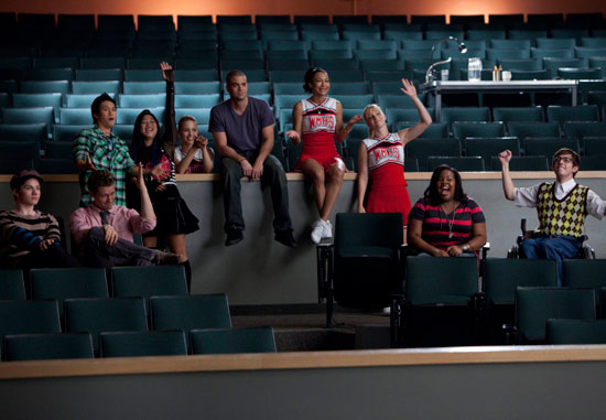 "The Glee club watch Sunshine perform in ""Audition"""