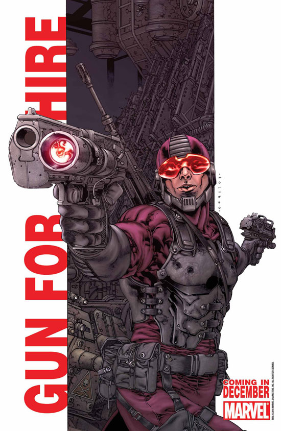 Paladin alongside the caption 'Gun for Hire' (Marvel)