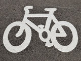 Bicycle icon on the road