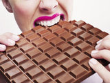 Woman eating hocolate