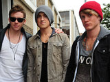 Danny, Tom and Dougie of McFly arriving at a studio in West London