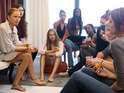 The girls walk a conveyor belt runway and spend time with supermodel Karolina Kurkova.
