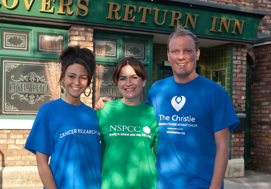 Antony Cotton, Michelle Keegan and Debbie Rush for the Corrie 50th Anniversary Appeal