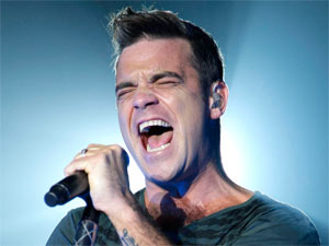 Robbie Williams performing live in Paris, France