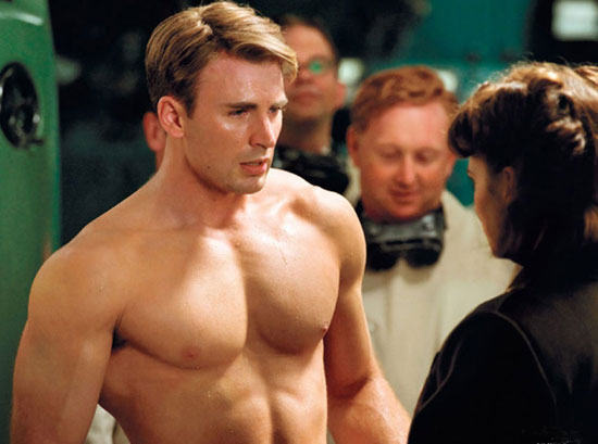 Chris Evans shirtless in 'Captain America'