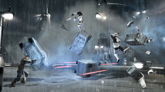 Force Push. Using a force push to repel a group of Stormtroopers.