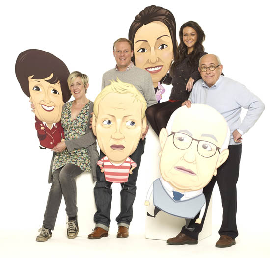 Julie Hesmondhalgh (Hayley Cropper), Malcolm Hebden (Norris Cole), Antony Cotton (Sean Tully) and Michelle Keegan (Tina McIntyre) with their cartoon characters