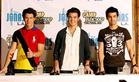 The Jonas Brothers attend a press conference to promote their film 'Camp Rock 2: The Final Jam'